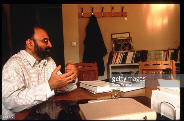 Scholar and dissident Abdulkarim Soroush speaks December 8 1997 in Tehran Iran Having relaxed restrictions on the press and cultural expression...
