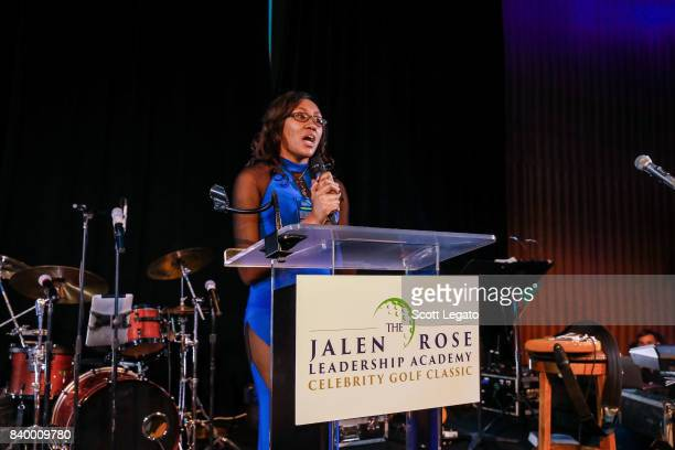 JRLA scholar Bri Johnson speaks at the 7th Annual Jalen Rose Leadership Academy Celebrity Golf Classic Day 1 at MGM Grand Detroit on August 27 2017...