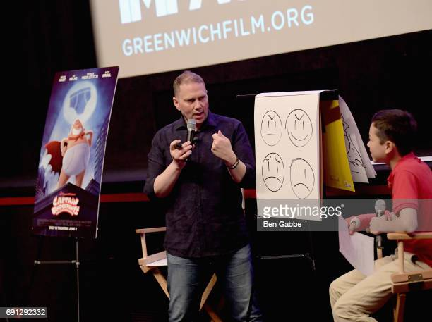 Scholastic Kid Reporter Maxwell Surprenant and author Dav Pilkey speak on stage after the Captain Underpants screening during the Greenwich...