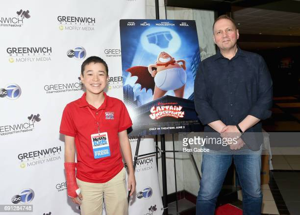 Scholastic Kid Reporter Maxwell Surprenant and Author Dav Pilkey attend the screening of Captain Underpants during Greenwich International Film...