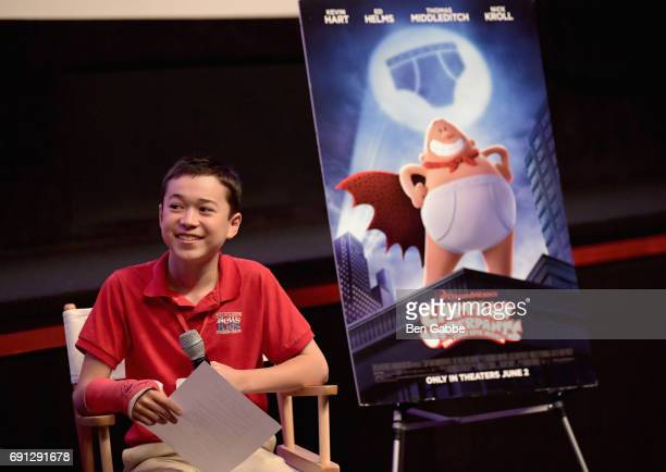 Scholastic Kid Reporter Maxwell Surprenant interviews author Dav Pilkey during the screening of Captain Underpants during Greenwich International...