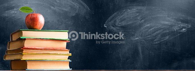 School accessories against blackboard : Stock Photo