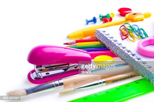 School and office supplies. Stationery on white background. : Stock Photo
