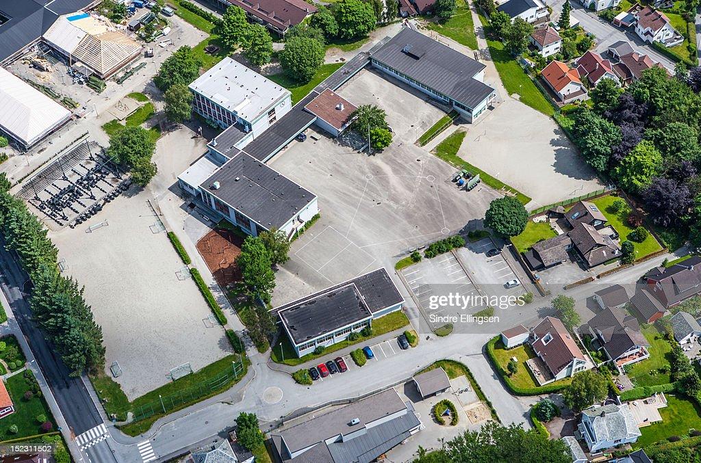 School and surrounding houses : Stock Photo