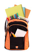 School bag with student supplies
