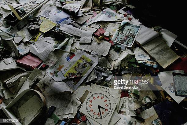 School books and papers in an abandoned pre school in the deserted city of Pripyat on January 25 2006 in Chernobyl Ukraine Prypyat and the...