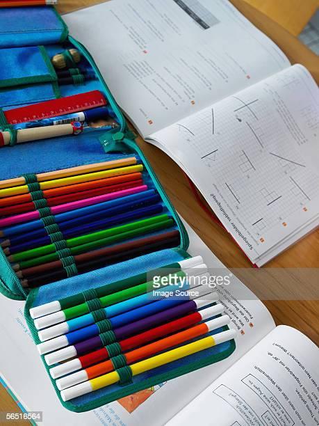 School books and pencil case