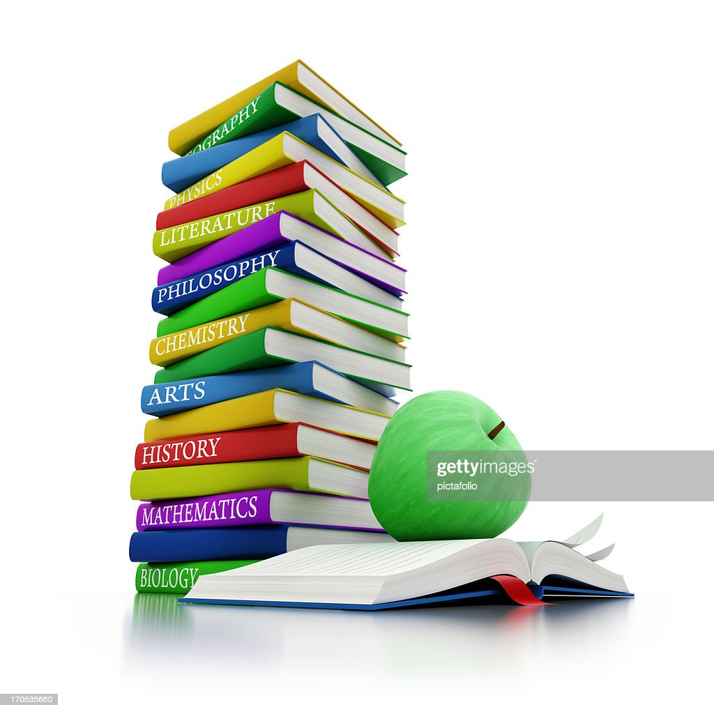 school books with green apple : Stock Photo