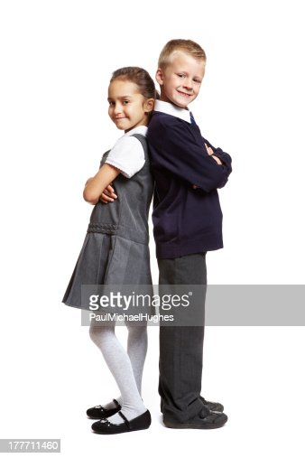 School boy and girl on white background : Stock Photo