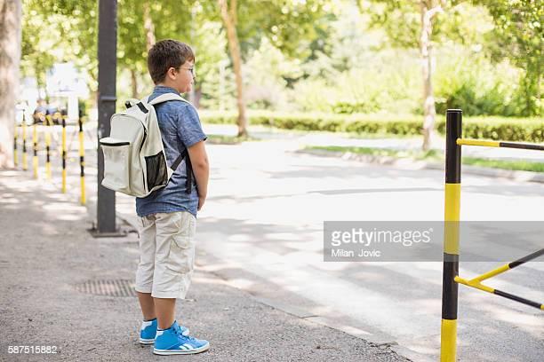 School boy crossing the street