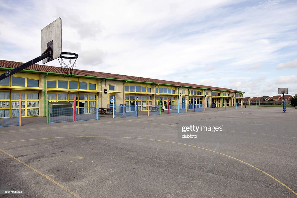 School Building And Playground Stock Photo Getty Images