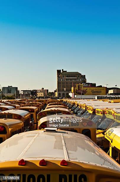 School bus depot, Coney Island, New York, USA