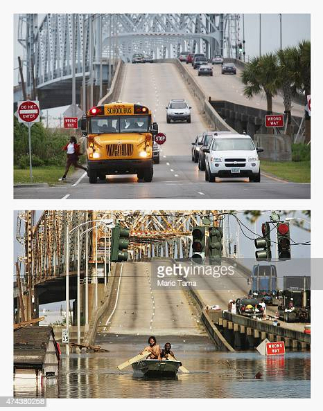 A school bus drops off a student in front of the Claiborne Bridge in the Lower Ninth Ward on May 12 2015 in New Orleans Louisiana The neighborhood...