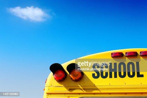 School bus in technicolor