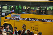 School bus is running under DTC for public transport on fifth day of oddeven Rule on January 5 2015 in New Delhi India