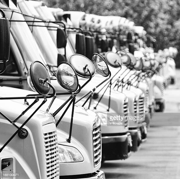 School Bus Mirrors Abstract Black and White