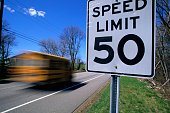 School Bus Passing Speed Limit Sign