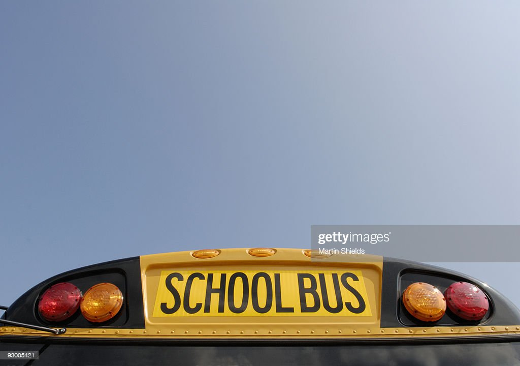 School bus with blue sky : Stock Photo