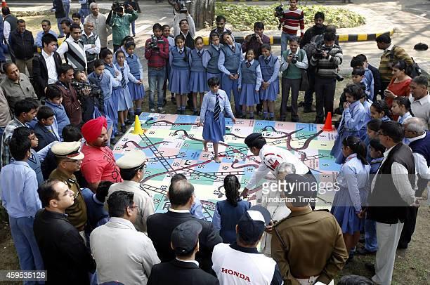 School Children at newlyrenovated traffic training park at Baba Kharak Singh Marg on November 24 New Delhi India The traffic training park for...