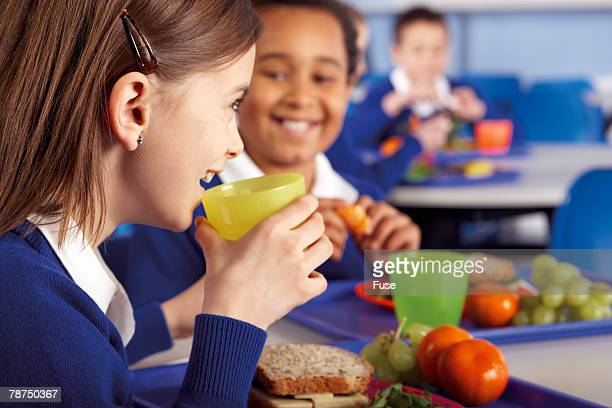 School Children Eating a Healthy Lunch