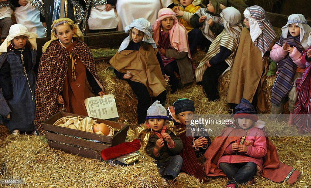 School children from local schools perform in the traditional nativity play hosted in a barn at Pennywell Farm Activity Centre near Buckfastleigh on...