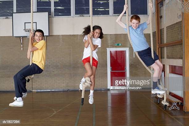 School Children Hanging From Climbing Ropes in a School Sports Hall