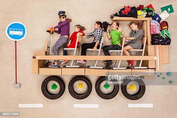 School children in school bus