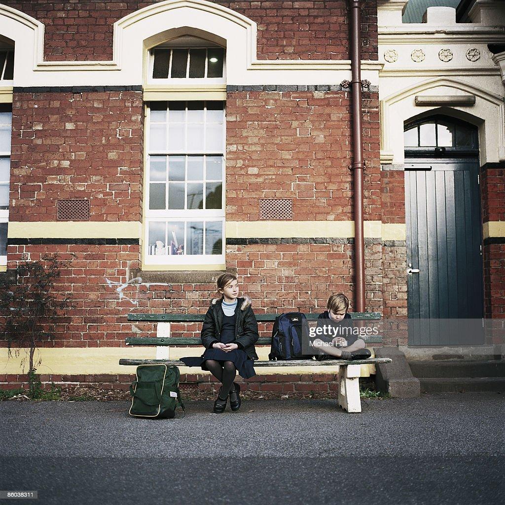 School Children in schoolyard : Stock Photo