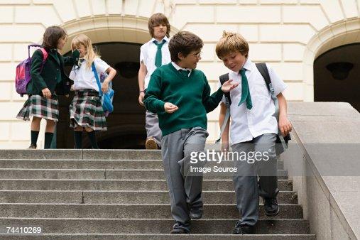 School children on steps