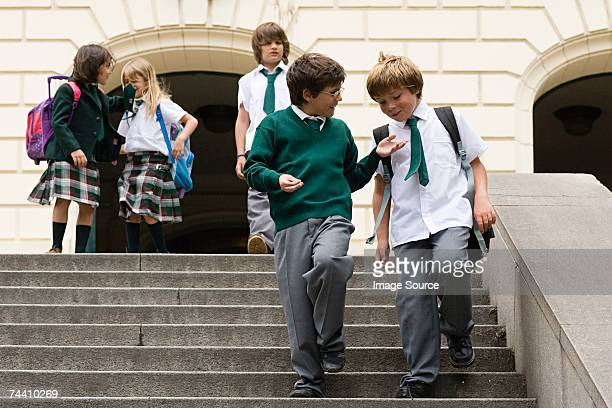 School children on steps