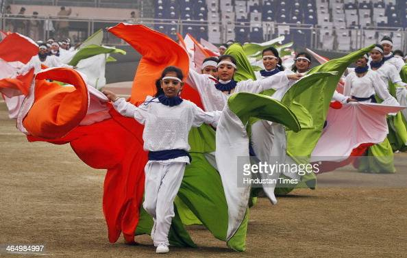 School children participate during the state level Republic Day function at Chhatrasal Stadium on January 25 2014 in New Delhi India Republic Day is...
