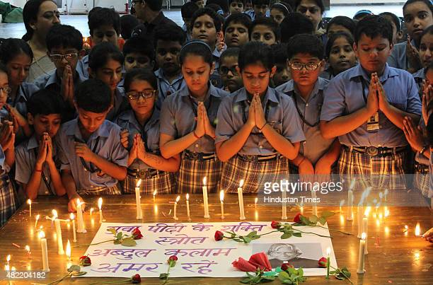School children pay tribute to the former President of India Dr APJ Abdul Kalam at Blue Bells School sector4 on July 28 2015 in Gurgaon India Kalam...