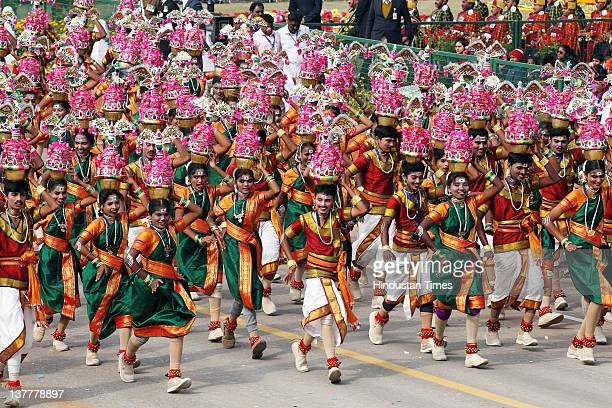 School children perform a traditional dance at Rajpath during the Republic Day parade on January 26 2012 in New Delhi India India is celebrating its...