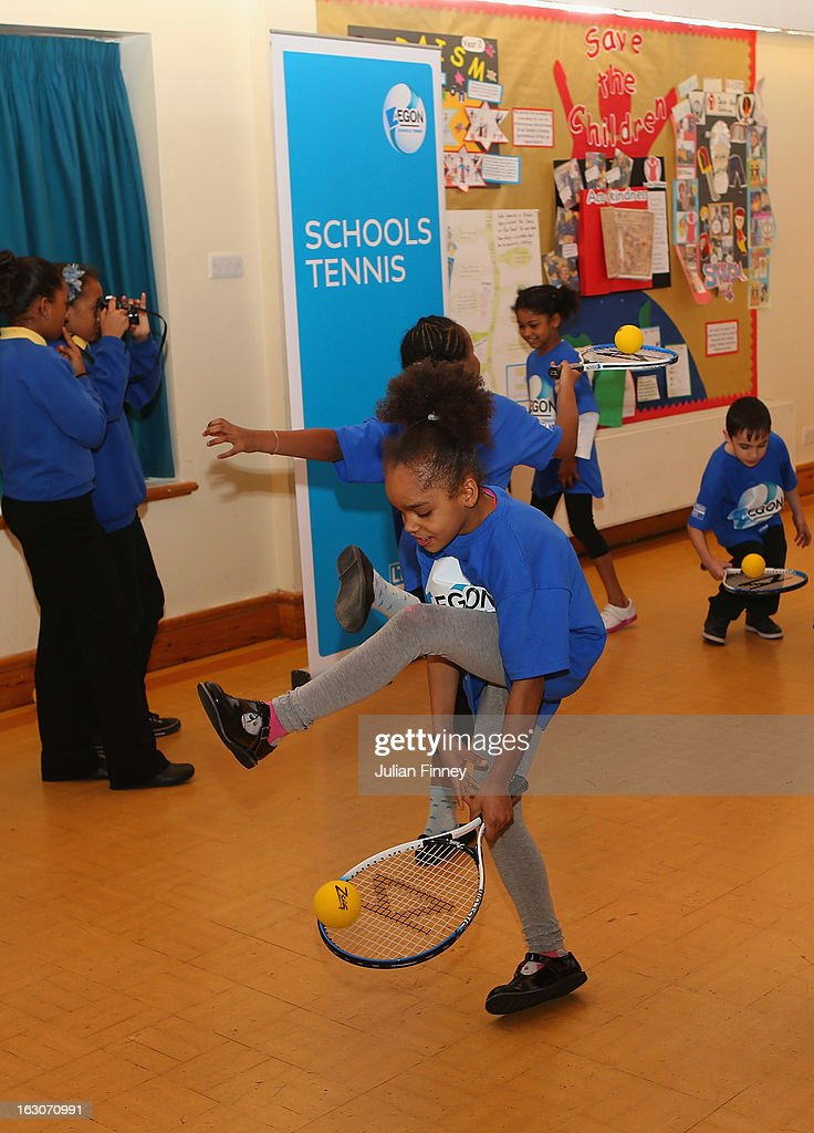 School children play tennis at Britannia Village Primary School on March 4, 2013 in London, England. Aegon Schools Tennis Programme names Britannia Village Primary School, Newham as the 15,000th School beneficiary today which coincides with World Tennis Day.