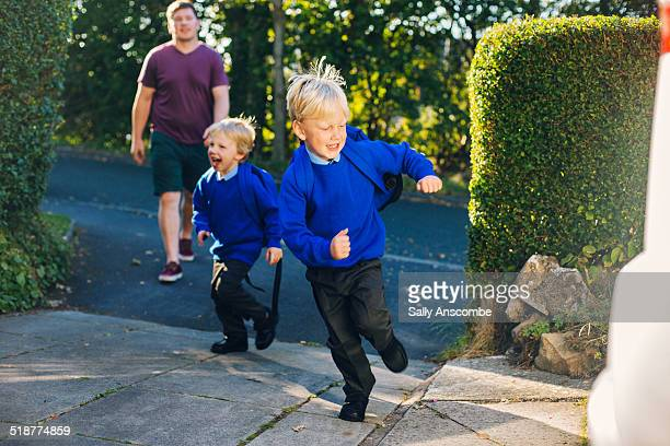 School children running home