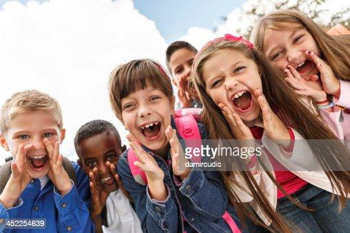 School children shouting outside