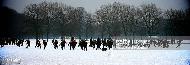 School Children Snow Ball fight