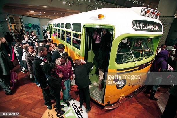 School children tour the bus that civil rights icon Rosa Parks made famous when she refused to give up her seat February 4 2013 at The Henry Ford in...