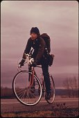 School children were forced to use their bicycles on field trips during the fuel crisis in the winter of 1974 as there was not enough gasoline for...