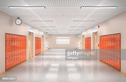 School corridor interior. 3d illustration : Stock Photo