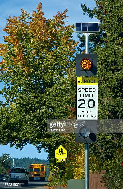 School Crossing And Speed Limit Signs