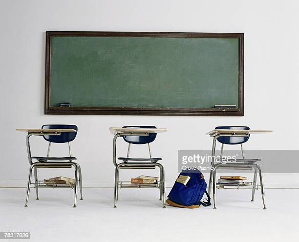 School desks and chalkboard