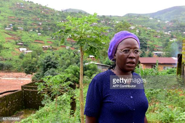School director AnnMarie Caulker speaks during an interview in Freetown on August 18 2017 A week after Sierra Leone's capital was struck by flooding...