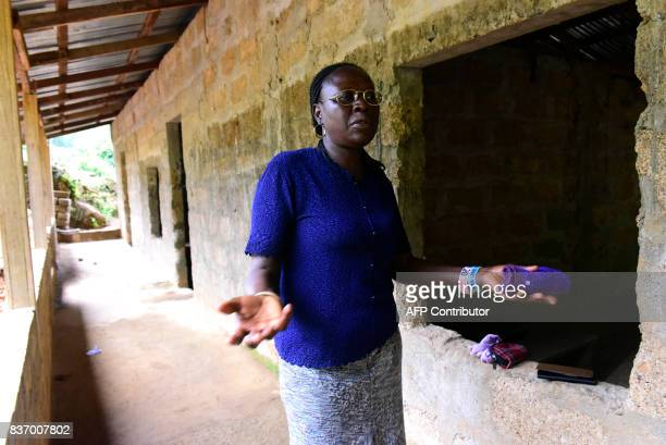 School director AnnMarie Caulker speaks during an interview in Freetown on August 18 2017 A week after Sierra Leone's capital Freetown was struck by...