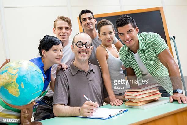 School education scene: students and teacher