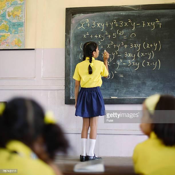 School Girl Doing Algebra