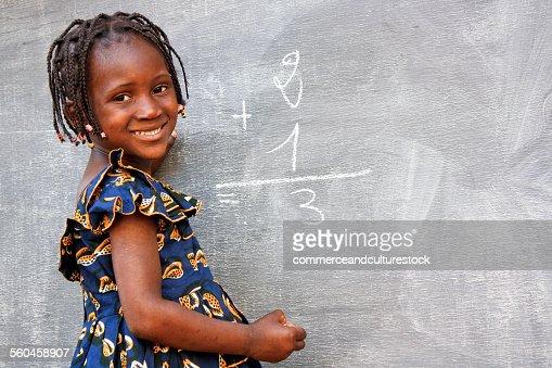 A school girl doing an exercise