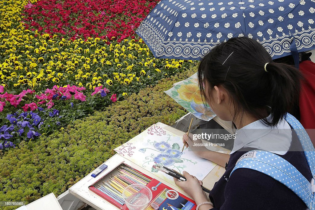 School girl draws flowers at the 2013 Hong Kong Flower Show at Victoria Park on March 15, 2013 in Hong Kong, Hong Kong. The 2013 Hong Kong Flower Show opened today and will continue until March 24, 2013.