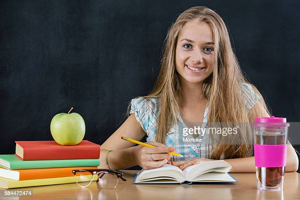 School girl studying