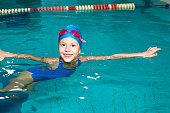 .School girl swims in the sports pool